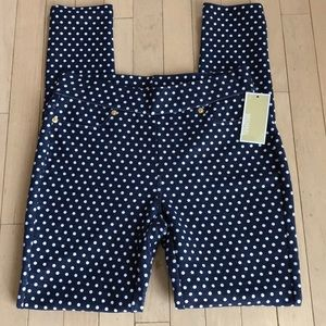 NWT Michael Kors Blue & White Polka Dot Jeggings